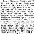 Moore enlisted in the V-12 program at the University of Notre Dame