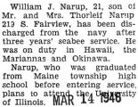 Narup was discharged after three years of service with the Seabees