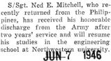 Ned Mitchell was honorably discharged from the Army after serving for two years
