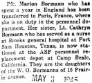News of Marion and Cathryn Bormann