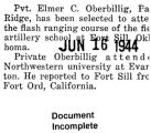 Oberbillig took a flash ranging course at Fort Sill Oklahoma (Document Incomplete)