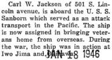 On the crew of the U.S.S. Sanborn which is shipping veterans home from overseas