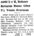AOM 2/c H. Rohner Returns Home After 2 1/2 Years Overseas