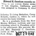 Oxenham enlisted in the Army in Los Angeles and was assigned to Camp Roberts, California