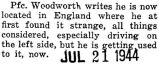 Paraphrased letter from Woodworth who was stationed in England