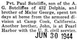 Paul Sutcliffe was home on furlough from Camp Cook, California