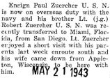 Paul Zuercher left for overseas duty with the Navy