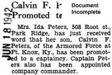 Peters was promoted to captain at Fort Knox, Kentucky (Document Incomplete)