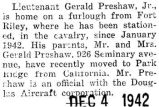 Preshaw was home on furlough from Fort Riley where he was stationed with the cavalry