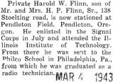 Private Harold W. Flinn Jr. now stationed at Pendleton Field