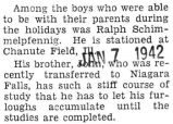 Ralph Schimmelpfennig was home for the holidays from Chanute Field, Illinois