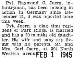 Raymond Juern reported missing in action in Germany