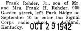Rehder left home to join the Signal corps radio school in Ashland, Kentucky