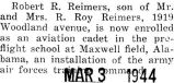 Reimers was stationed at the pre-flight school in Maxwell Field, Alabama
