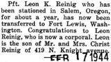 Reinig was transferred to Fort Lewis, Washington from Salem, Oregon