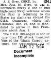 Returning to the states, for discharge, on the U.S.S.Okanogan (Document Incomplete)