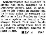 Richard Myers was assigned to a Destroyer Escort