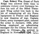 Robert Grant's 302nd Transport Wing redeployed Air Force equipment in France and England