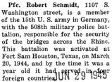 Robert Schmidt was a member of the fifteenth U.S. Army in Germany