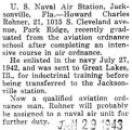 Rohner graduated from the aviation ordnance school in Jacksonville, Florida
