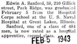 Sanford graduated from the Hospital Corps school at Great Lakes, Illinois