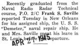 Saville was assigned to the U.S.S. Demeter, a naval repair ship