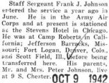 Staff Sergeant Frank Johnson stationed in Chicago at the Stevens Hotel with the army air corps