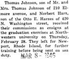 Thomas Johnson commissioned as ensign from Northwestern University