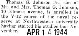 Thomas Johnson enrolled in the V-12 course at Northwestern University