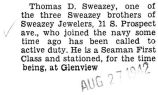 Thomas Sweazey was stationed at Glenview as a Seaman First Class