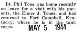 Tone was home for a visit from Fort Campbell, Kentucky, where he was with the tank corps