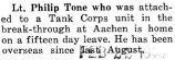 Tone was home on a fifteen day leave after he was stationed with the Tank Corps