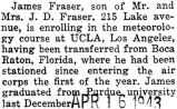 Transferred from Boca Raton, Florida to UCLA in Los Angeles, California