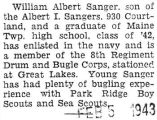 William Sanger was a member of the Eighth Regiment Drum and Bugle Corps stationed at Great Lakes