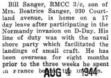 William Sanger was home on leave after participating in the D-Day invasion of Normandy