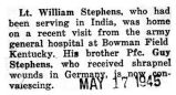 William Stephens was home on a visit from the army hospital at Bowman Field in Kentucky