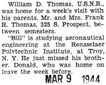 William Thomas was home for a visit from the Rensselaer Polytechnic Institute