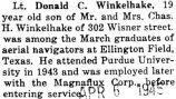 Winkelhake graduated as an aerial navigator from Ellington Field in Texas