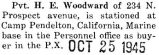 Woodward was stationed at Camp Pendleton in California