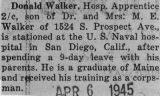 Walker was stationed at the U.S. Naval hospital in San Diego, California