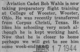 Wahls took preparatory flight training at the College of Wooster