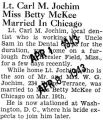 Lt. Carl M. Jochim Miss Betty McKee married in Chicago