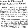 Potter Is Discharged From U.S. Coast Guard