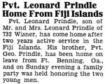 Pvt. Leonard Prindle Home From Fiji Islands
