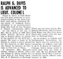 Ralph G. Davis is Advanced to Lieut. Colonel