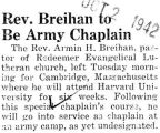 Rev. Breihan to Be Army Chaplain