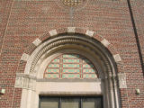 Photograph of a window archway on the Lincoln Middle School building in Park Ridge, Illinois
