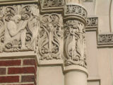 Close-up photograph of detail on the Lincoln Middle School building in Park Ridge, Illinois