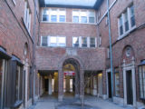 Photograph of the Framer's Alley courtyard near Starbucks and Hill's Hallmark in Park Ridge,...