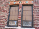 Photograph of tiles above a window on the Lincoln Middle School building in Park Ridge, Illinois